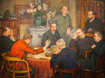 Verhaeren , en rouge, avec un groupe d'amis écrivains